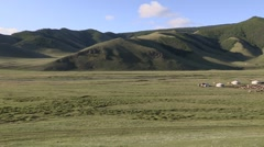 Mongolia: Pan of Hills and Steppes - stock footage