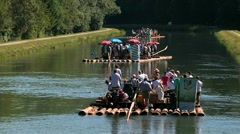 Float on isar river 03 Stock Footage