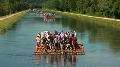Float on isar river 01 Stock Footage