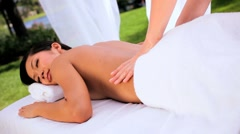 Asian Girl Enjoying Spa Massage Stock Footage