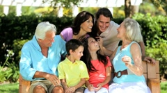 Grandparents Being Visited by Their Children & Grandchildren Stock Footage