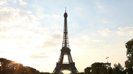 Stock Video Footage of Timelapse Footage of the Eiffel Tower at Sunset in Paris 04