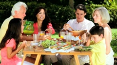 Family Generations Sharing Healthy Lunch Stock Footage