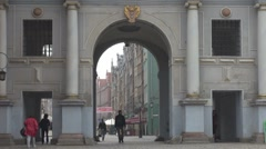 City Gate in old Town in Gdansk, Poland Stock Footage