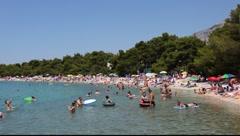 Beach in Adriatic resort Stock Footage