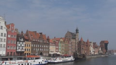 The SS Soldek in medieval port in Gdansk, Poland Stock Footage