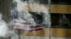 Steam & the American flag Stock Footage