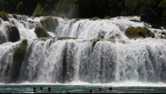 Waterfall in Krka National Park, Croatia Stock Footage