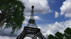 Eiffel Tower Clouds Timelapse 09 Stock Footage