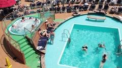 Swim pool cruise ship pan P HD 1316 Stock Footage