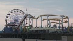 Santa Monica Pier Evening - stock footage