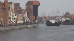 The SS Soldek museum ship medieval port Gdansk Poland river tourism attraction Stock Footage