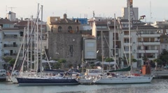 Yachts in harbour Stock Footage