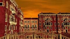 Venice Buildings Sunset 02 Stock Footage