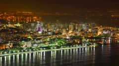 Rio de Janeiro downtown business area at night, time lapse FULL HD 1080P Stock Footage