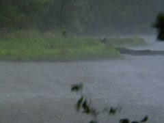 Severe Storm Rain  Lashing Winds Lake Pond River Pouring Flooding Stock Footage