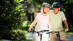 Healthy Cycling Exercise for Seniors Stock Footage
