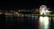 Southbank Parklands - Brisbane City Skyline Night, Queensland, Australia Stock Footage