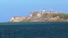 El Morro Fort - San Juan Sea Bay - Lighthouse Stock Footage