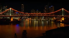 Storey Bridge Time Lapse, Brisbane City Skyline Night, Queensland, Australia Stock Footage