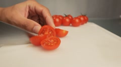 Cutting tomato salad Stock Footage
