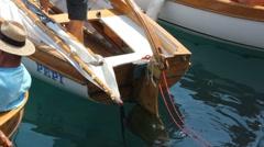 Old boats regattas start Stock Footage
