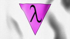 Lambda triangle sign white waving flag Stock Footage