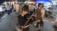 Thai Market Musician Stock Footage
