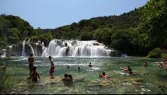 Bath at the waterfall, Croatia Stock Footage