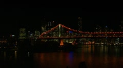 Brisbane City Skyline Night, Storey Bridge Pan, Australia Stock Footage