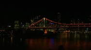 Stock Video Footage of Brisbane City Skyline Night, Storey Bridge Pan, Australia