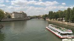 Paris -pleasure boat- Bateaux-mouches 2 Stock Footage