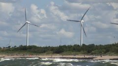 Wind turbines farm on the seashore Stock Footage