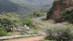 African Mini-Bus on Lonely Mountain Road  (HD) Stock Footage