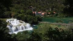 Waterfall in Krka National Park, Croatia Stock Footage