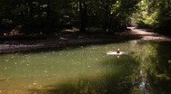 Girl swim in the backwaters of mountain stream Stock Footage