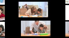 Montage of families doing homework - stock footage