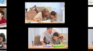 Montage of families doing homework Stock Footage