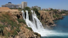 Duden waterfall in Antalya, Turkey Stock Footage
