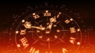 Stock Video Footage of Sketched Watches In Red and Gold - Clock 21 (HD)