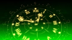 Green Sketched Clock - Clock 20 (HD) Stock Footage