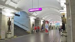 Pushkinskaya, commuters at station, St. Petersburg, Russia Stock Footage