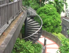 Spiral Stairs Outside 01 Stock Footage