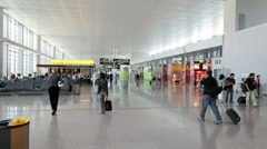 Malaga Airport passengers walking in terminal building Spain P HD 9620 Stock Footage