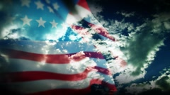 USA Flag Natural Cloud Stock Footage
