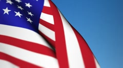 USA original Flag sky up screen Stock Footage