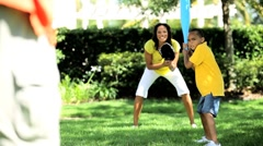 African American Family Playing Baseball Stock Footage