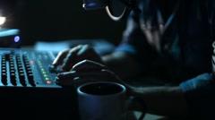 Radio DJ with Headphones. Night Air Stock Footage