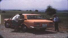 Resting near the Autobahn, 1970s (vintage 8 mm amateur film) - stock footage