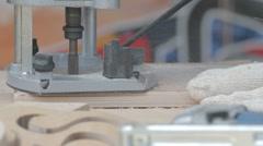 Carpenter assembling workbench, workshop environment setting - stock footage